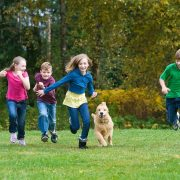 children_dog_running