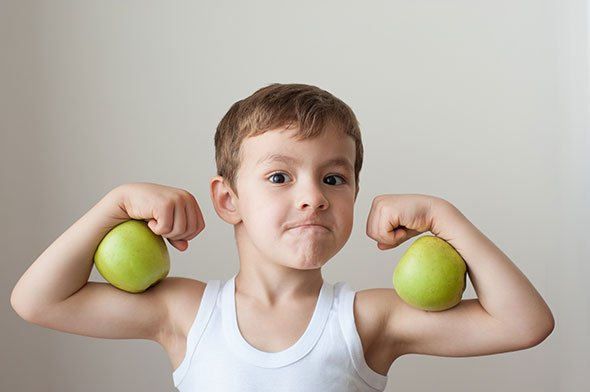 boy-muscles-green-apples