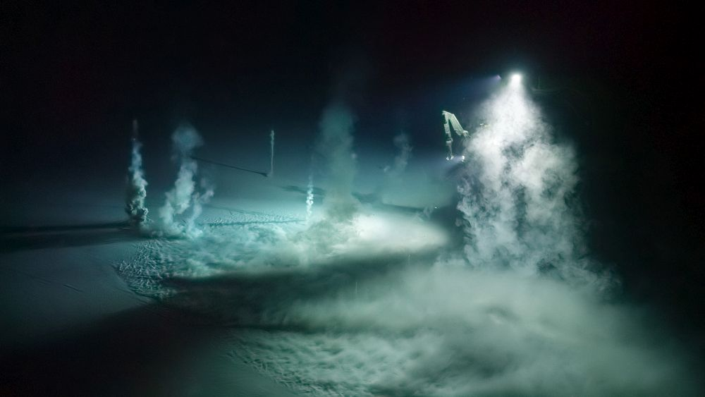 Picture shows: A methane or 'mud' volcano, 650 metres deep in the Gulf of Mexico, where bubbles of methane erupt from the seafloor, dragging plumes of millennia-old sediment with them as they rise. When the Blue Planet II team returned to film this scene the following day, the volcano was dormant once more.