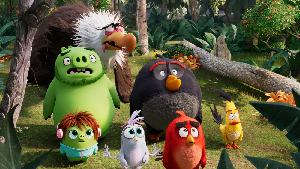 Mighty Eagle (Peter Dinklage), Leonard (Bill Hader), Courtney (Awkwafina), Silver (Rachel Bloom), Bomb (Danny McBride), Red (Jason Sudeikis) and Chuck (Josh Gad) in Columbia Pictures and Rovio Animations' ANGRY BIRDS 2.