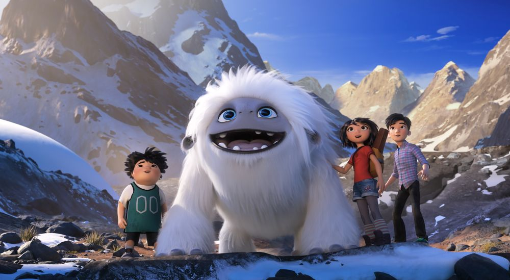 (from left) – Peng (Albert Tsai), Everest, Yi (Chloe Bennet) and Jin (Tenzing Norgay Trainor) in DreamWorks Animation and Pearl Studio's Abominable, written and directed by Jill Culton.