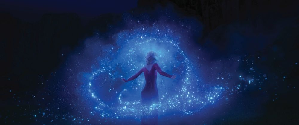 """Magical and larger than life, Elsa is the perfect mythic character—but she can't help but wonder why she was born with powers. What truths about the past await Elsa as she ventures into the unknown to the enchanted forests and dark seas beyond Arendelle? Featuring Idina Menzel as the voice of Elsa, Walt Disney Animation Studios' """"Frozen 2"""" opens on Nov. 22, 2019. © 2019 Disney. All Rights Reserved."""