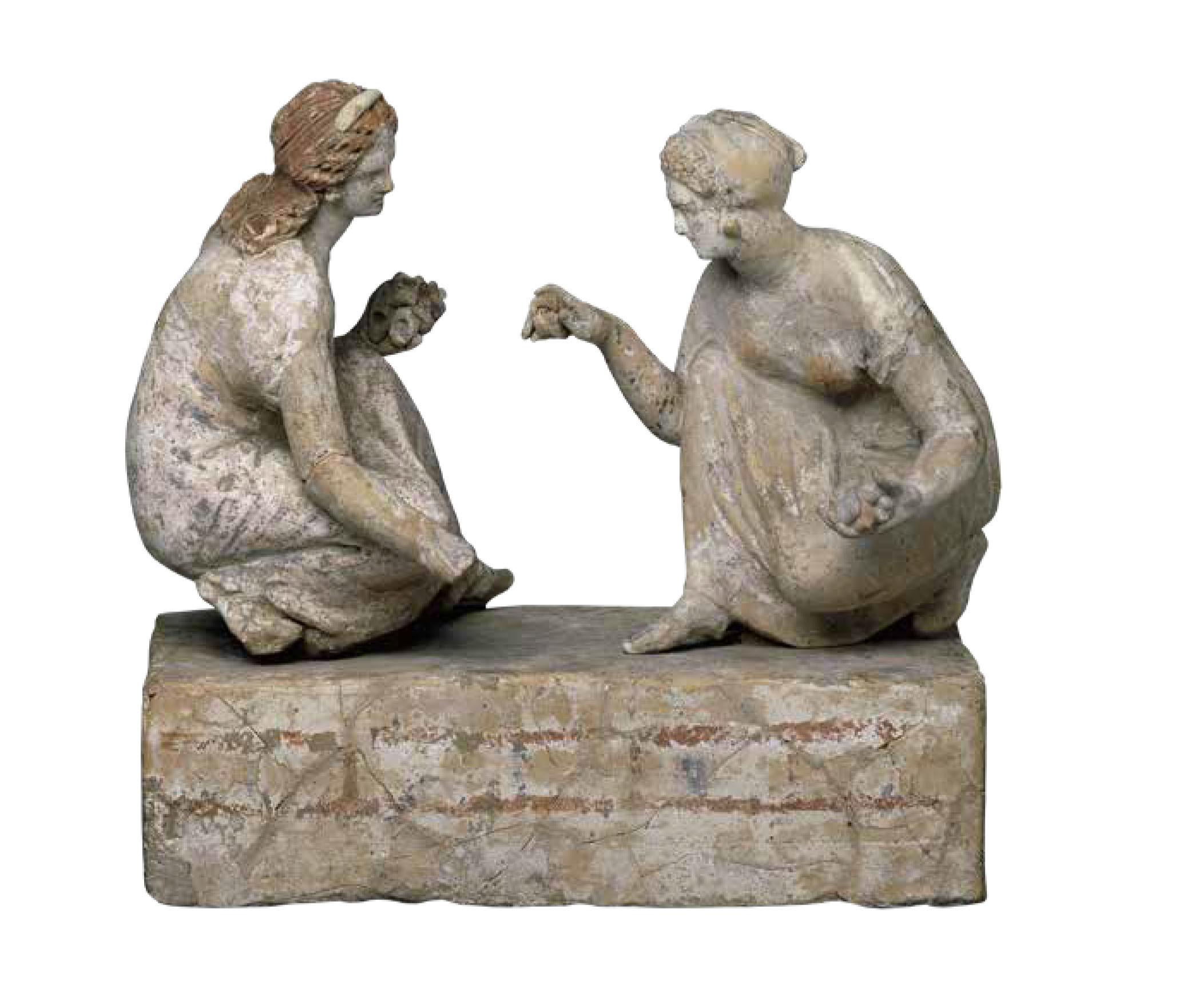 Πήλινα αγαλματίδια γυναικών που παίζουν αστραγάλους, 340-330 π.Χ, Βρετανικό Μουσείο