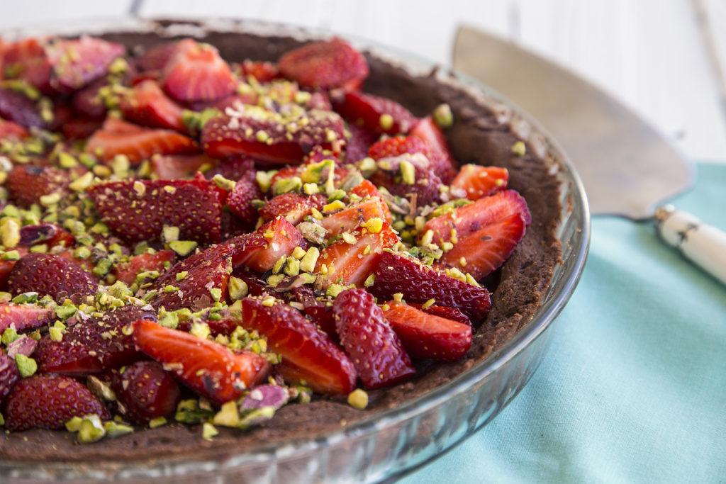 σοκολατένια τάρτα με φράουλες