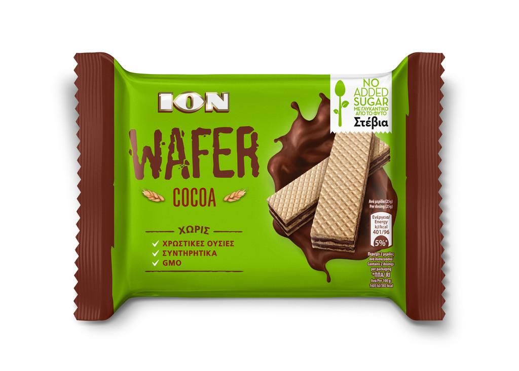 ION WAFER STEVIA COCOA 50G