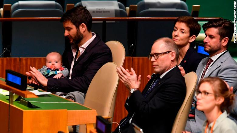 New Zealand Prime Minister Jacinda Ardern, who gave birth_while in office, has made history by bringing her_three-month-old daughter into the United Nations assembly hal 2