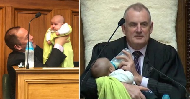 Trevor Mallard took on the feeding duties while the baby's MP dad gave a speech